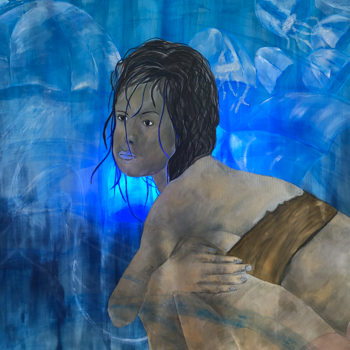 Licht der Lianenfrau - Weibliche Kraft leben - Malerei Ausdruck von  Emotion mit Licht, Farbe und Form. Acryl auf Leinwand 110x160 cm birgitneururer.com