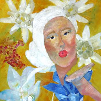 Licht der Lianenfrau - Weibliche Kraft leben - Malerei Ausdruck von  Emotion mit Licht, Farbe und Form. Acryl auf Leinwand 70x100 cm birgitneururer.com