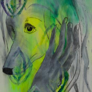 Licht der Lianenfrau - Weibliche Kraft leben - Malerei Ausdruck von  Emotion mit Licht, Farbe und Form. Acryl auf Leinwand 40x100 cm birgitneururer.com