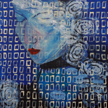 Licht der Lianenfrau - Weibliche Kraft leben - Malerei Ausdruck von  Emotion mit Licht, Farbe und Form. Acryl auf Leinwand 60x60 cm birgitneururer.com