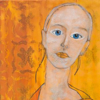 Licht der Lianenfrau - Weibliche Kraft leben - Malerei Ausdruck von  Emotion mit Licht, Farbe und Form. Acryl auf Leinwand, 40x120 cm. Titel: Klang & Energie, birgitneururer.com